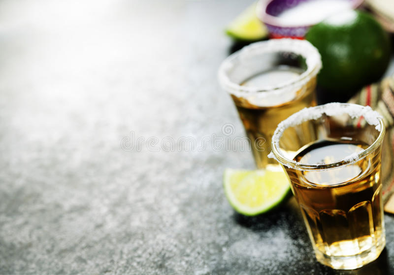 Tequila Shots with lime and salt royalty free stock photos