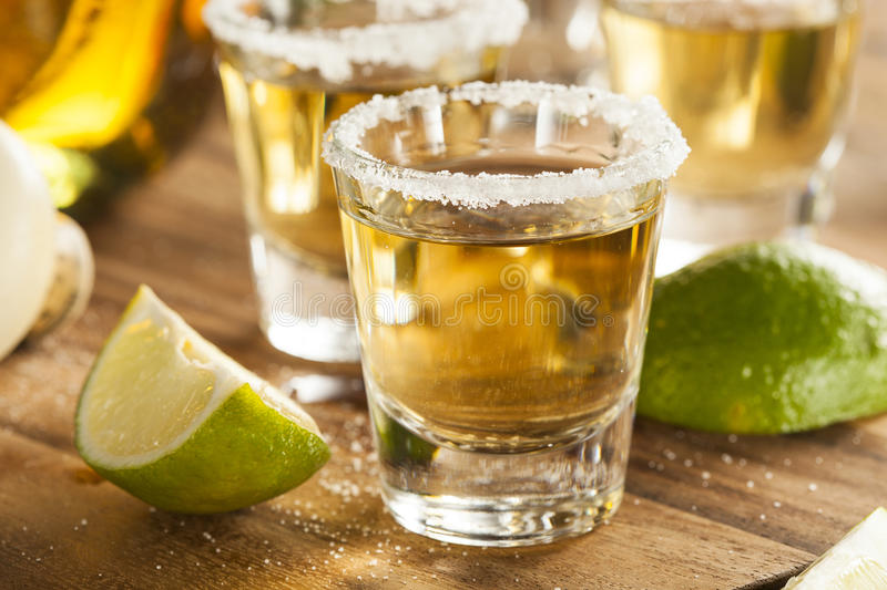 Tequila Shots with Lime and Salt royalty free stock image
