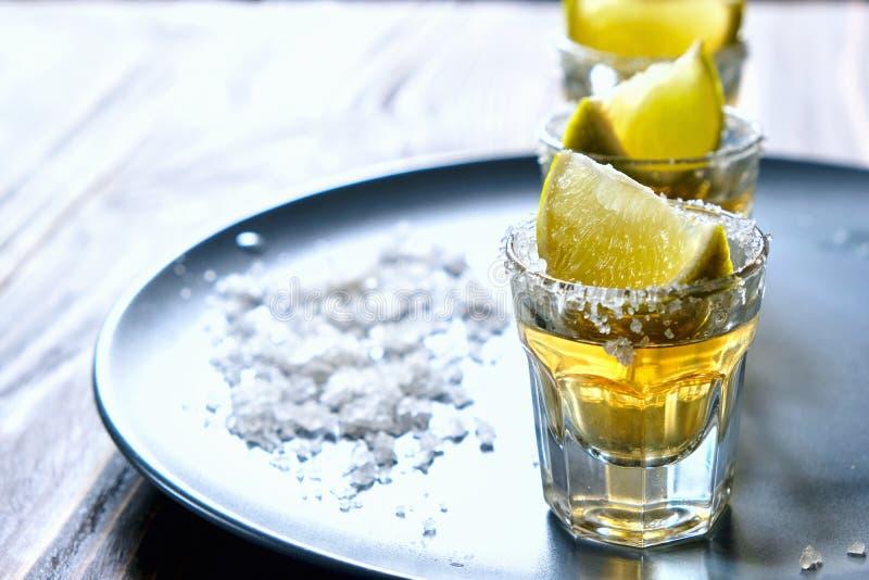 Tequila strzał z wapnem i morze solą na popielatym talerzu fotografia royalty free
