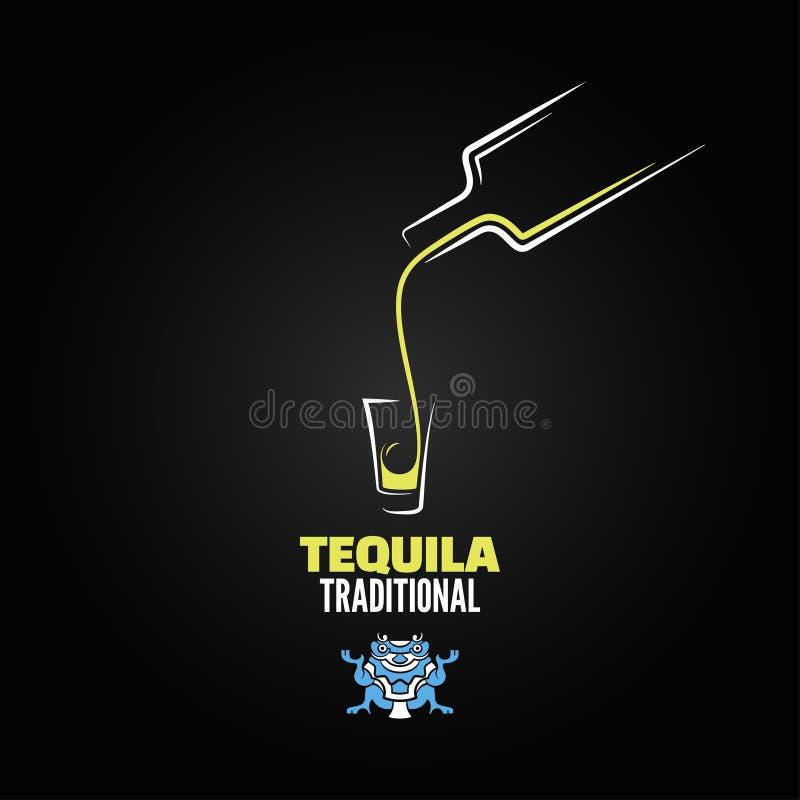 Tequila strzału butelki szkła menu projekta tło ilustracja wektor