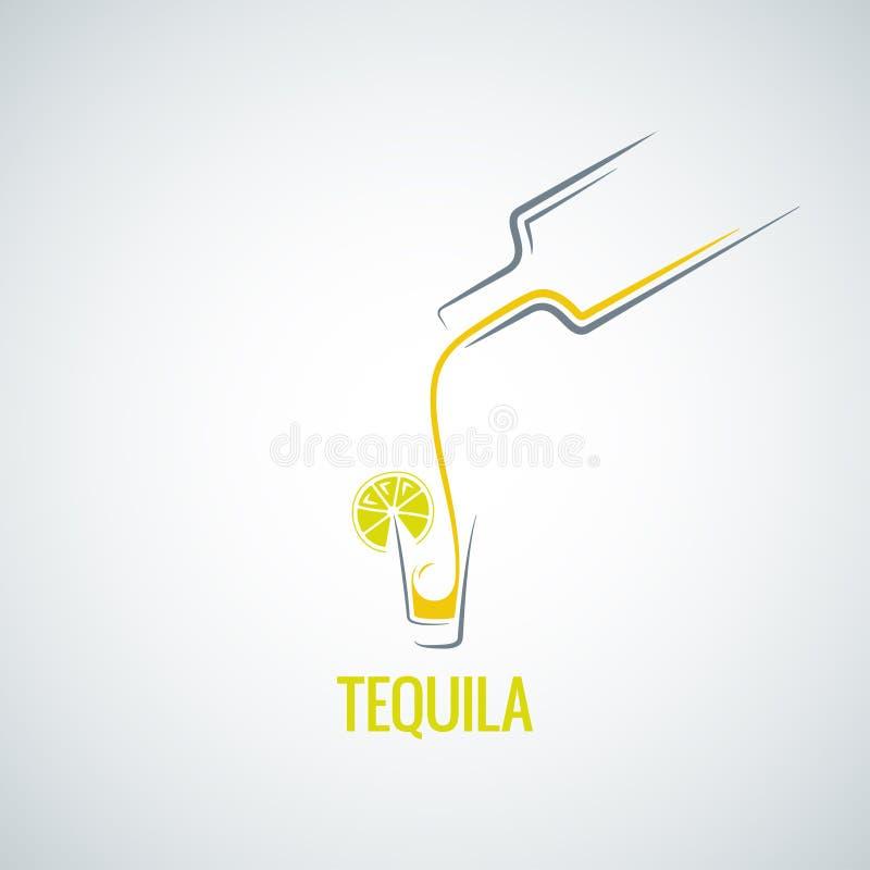 Tequila strzału butelki szkła menu tło ilustracja wektor