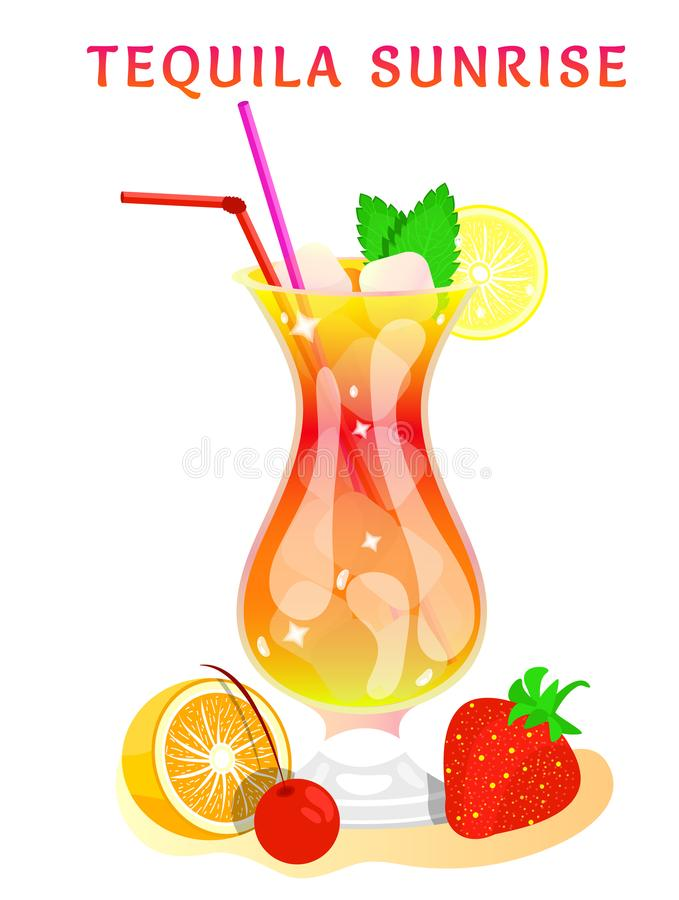 Tropical beach bar. Popular alcoholic cocktail. exotic tropical beach bar. fresh drink in glass cup with lime, mint. modern flat cartoon vector illustration stock illustration