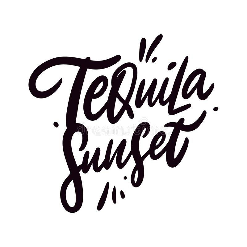 Tequila Sunset, cóctel Fragmento de letra vectorial dibujado a mano Estilo de caricatura ilustración del vector