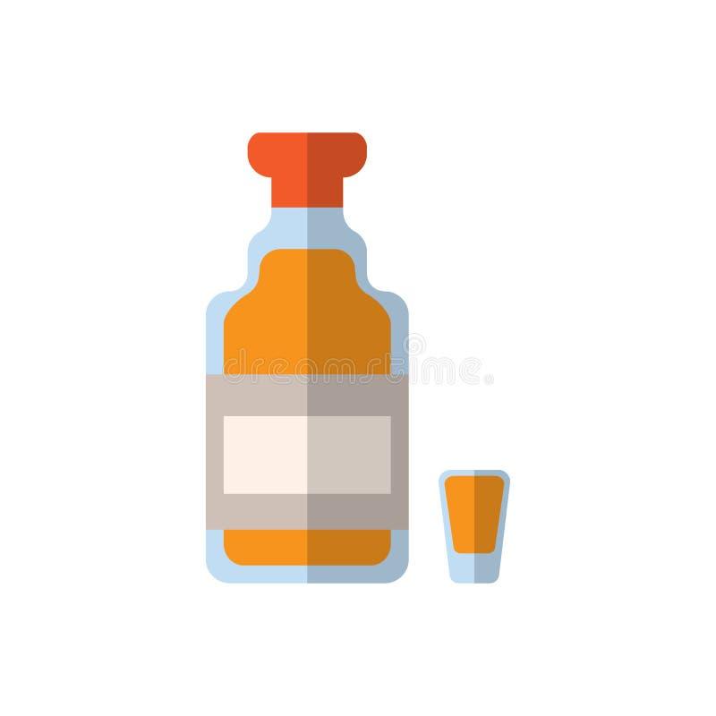Tequila szklana płaska ikona, wypełniający wektoru znak, kolorowy piktogram odizolowywający na bielu ilustracja wektor