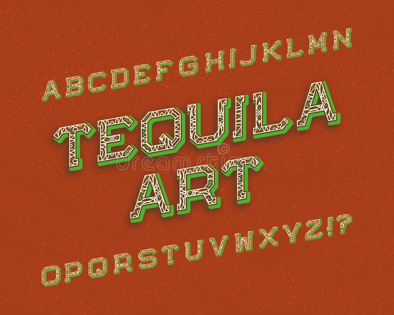 Tequila sztuki typeface chrzcielnica retro Odosobniony angielski abecadło royalty ilustracja