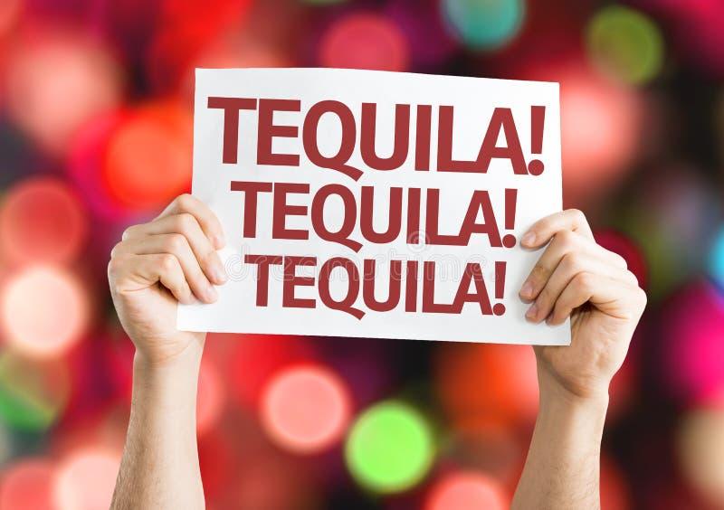 Tequila! Tequila! Tequila! kort med färgrik bakgrund med defocused ljus royaltyfri foto