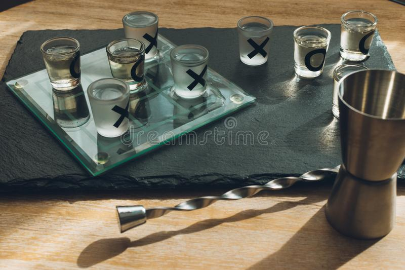 Tequila tick tack toe shot game royalty free stock image