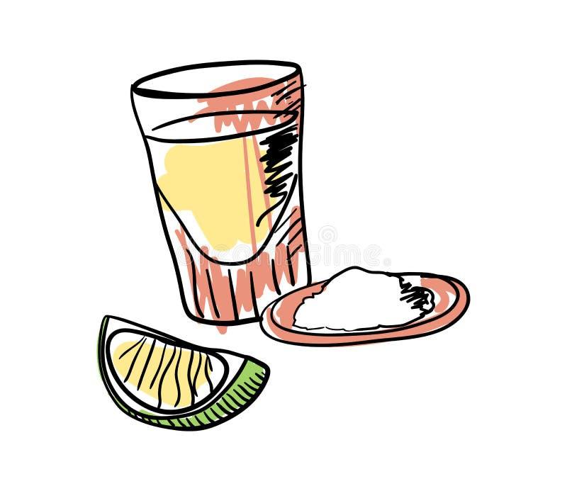 Tequila tirée avec l'icône tirée par la main de chaux illustration stock
