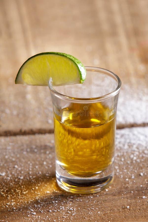 Tequila tirée avec la chaux et le sel photographie stock libre de droits