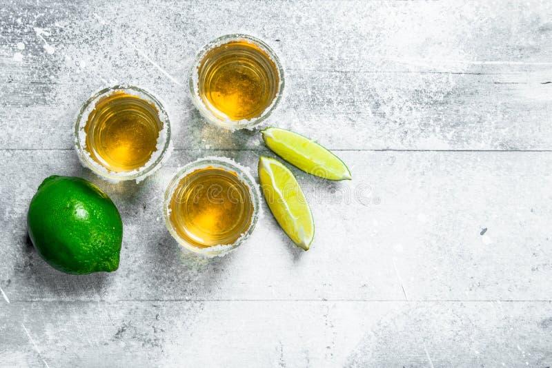 Tequila w strzału szkle z wapno plasterkami obraz stock