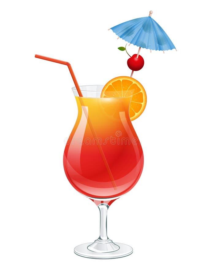 Tequila wschód słońca koktajl z wiśnią, plasterek pomarańcze, partyjny parasol i czerwieni tubki słomiana dekoracja, pojedynczy b obrazy royalty free