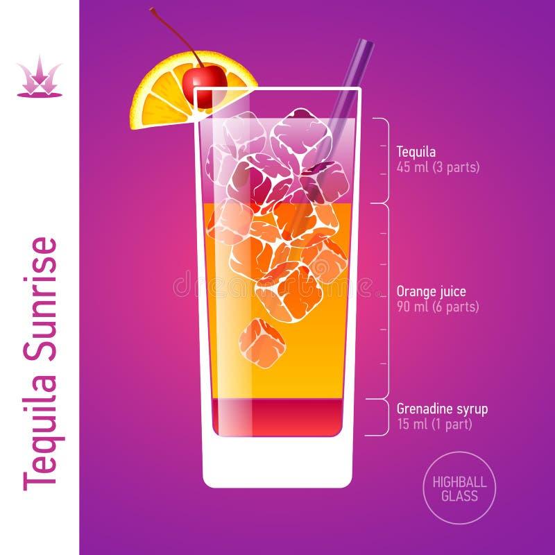 Tequila wschodu słońca koktajl ilustracja wektor