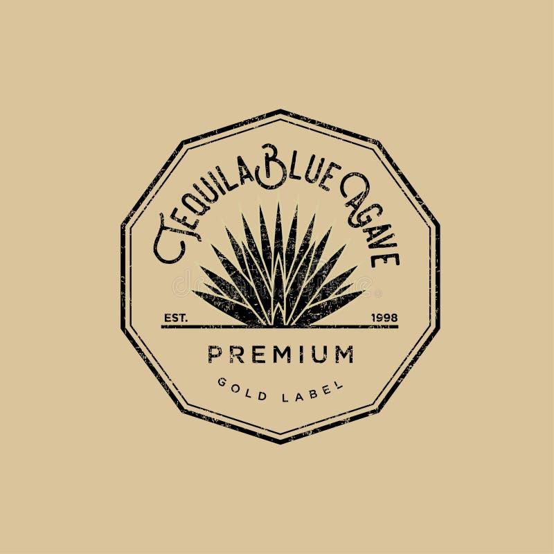 Tequilaembleem Gouden tequilaetiket Blauwe tequila van de agavepremie royalty-vrije illustratie