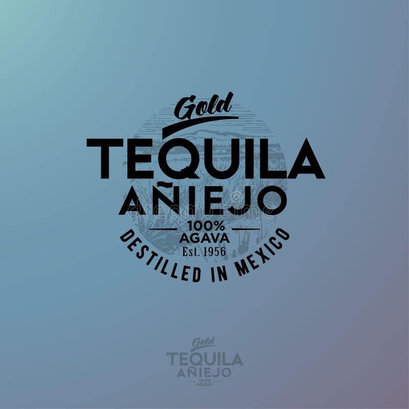 Tequilaembleem Het blauwe embleem van agavetequila Uitstekende brieven en agaveinstallaties stock illustratie