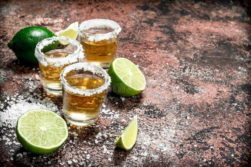 Tequilaen i ett skjutit exponeringsglas med saltar och skivad limefrukt arkivbilder