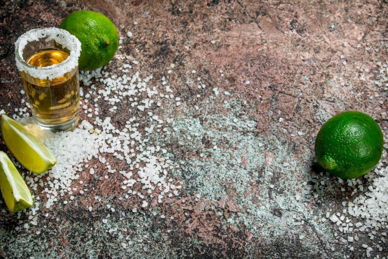 Tequilaen i ett skjutit exponeringsglas med saltar och skivor av ny limefrukt arkivfoto