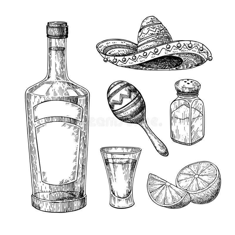 Tequilaflaska, salt shaker och skottexponeringsglas med limefrukt Mexicansk teckning för alkoholdrinkvektor royaltyfri illustrationer