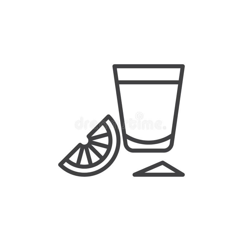 Tequilaskottexponeringsglas med limefruktskivalinjen symbol, översiktsvektortecken, linjär stilpictogram som isoleras på vit stock illustrationer