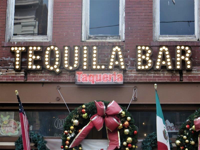 Tequilastång och taqueria, Ybor stad, Tampa, Florida royaltyfria foton