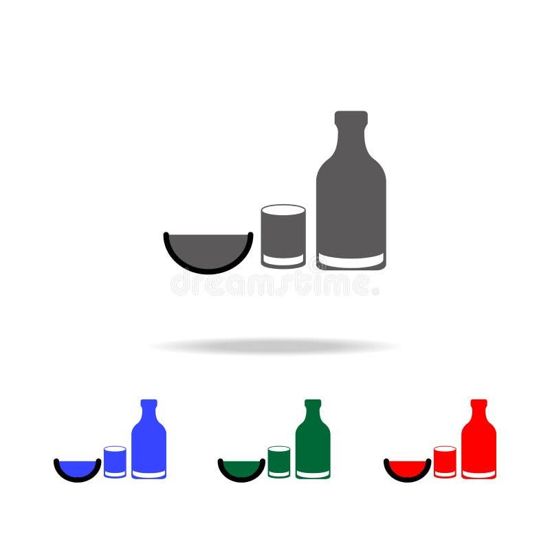 Tequilasymbol Beståndsdelar av kultur av Mexico mång- kulöra symboler Högvärdig kvalitets- symbol för grafisk design Enkel symbol vektor illustrationer