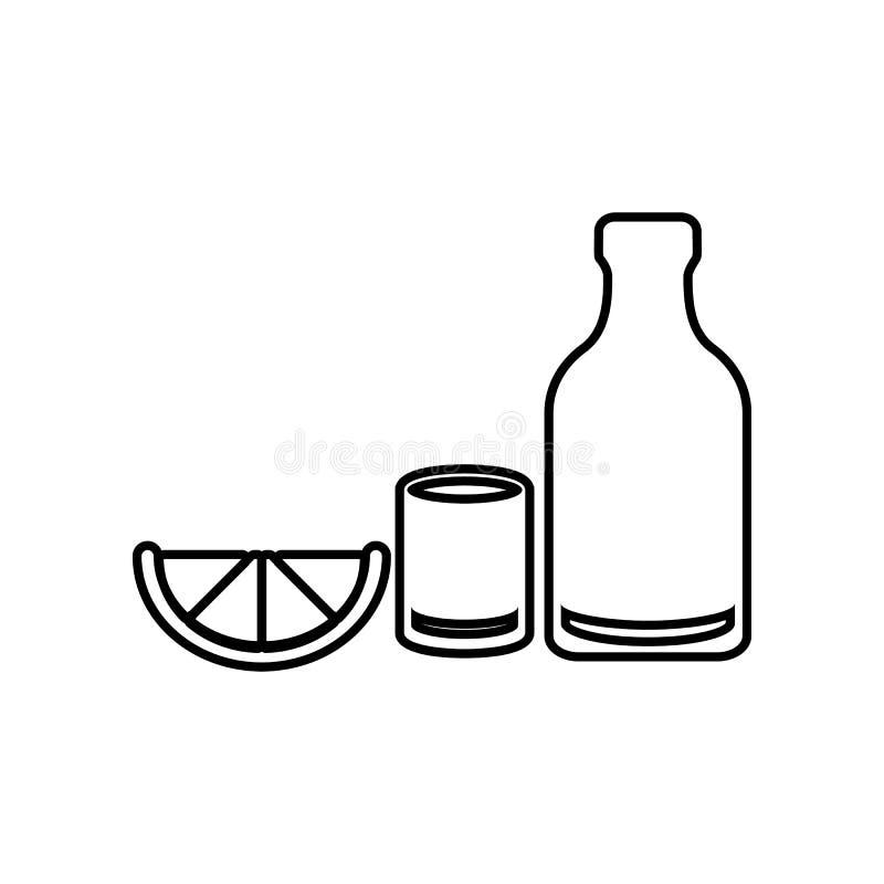 Tequilasymbol Best?ndsdel av Mexico f?r mobilt begrepp och reng?ringsdukappssymbol ?versikt, tunn linje symbol f?r websitedesign  vektor illustrationer