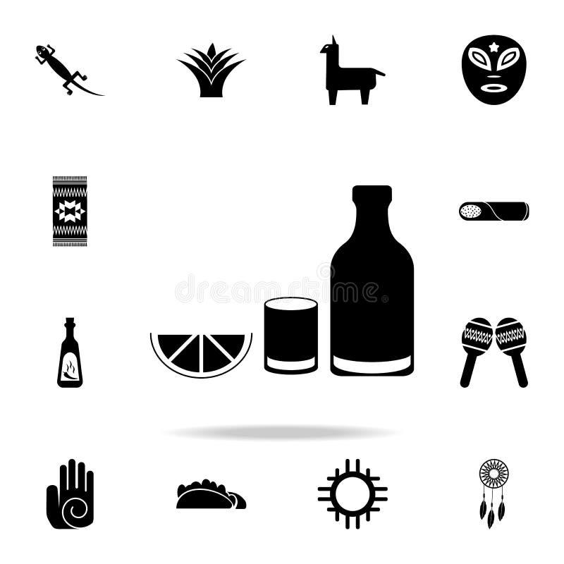 Tequilasymbol Detaljerad uppsättning av symboler för beståndsdelMexico kultur Högvärdig grafisk design En av samlingssymbolerna f royaltyfri illustrationer