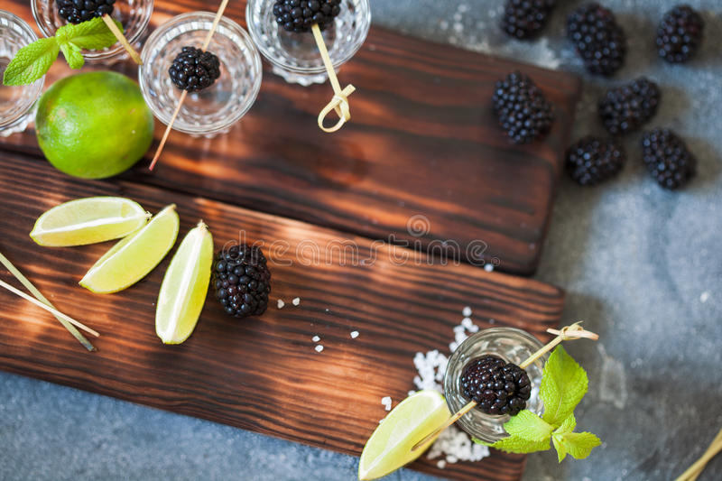 Tequilazilver met kalk en overzees die zout met braambes wordt verfraaid royalty-vrije stock foto