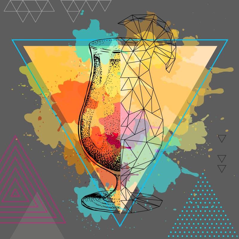 Download Tequilazonsopgang Van De Hipster Realistische En Veelhoekige Cocktail Op Waterverfachtergrond Vector Illustratie - Illustratie bestaande uit glas, veelhoekig: 114225288
