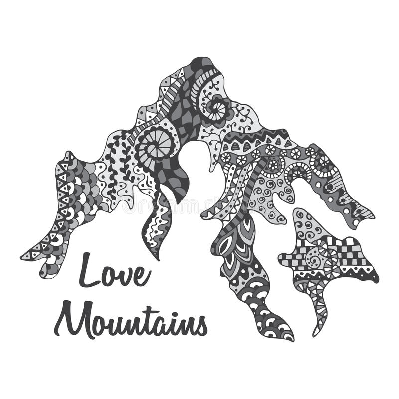 Ter beschikking getrokken van het bergsilhouet krabbelstijl royalty-vrije illustratie