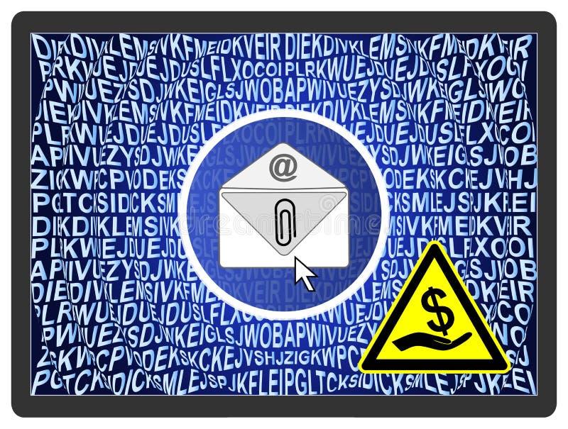 Ter cuidado com CryptoLocker ilustração royalty free