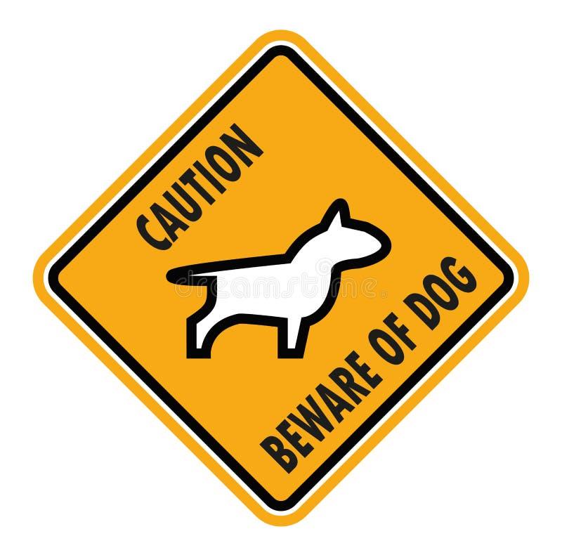 Ter cuidado com o cão, vetor do sinal ilustração royalty free