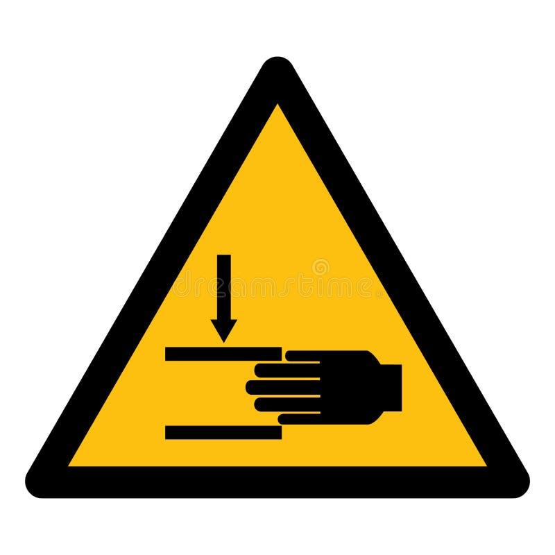 Ter cuidado com o esmagamento do isolado do símbolo da mão no fundo branco, ilustração EPS do vetor 10 ilustração stock