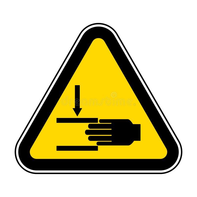 Ter cuidado com o esmagamento do isolado do símbolo da mão no fundo branco, ilustração EPS do vetor 10 ilustração royalty free