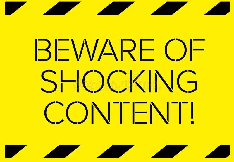 Ter cuidado com sinal de aviso satisfeito chocante ilustração do vetor