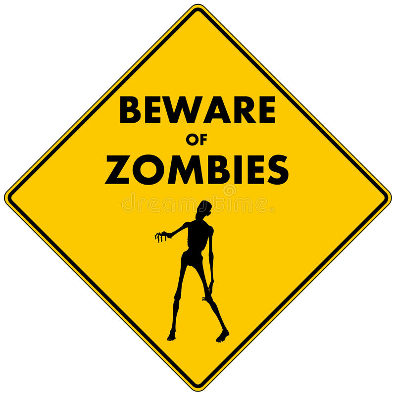 Ter cuidado com zombis ilustração stock