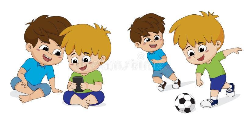Teraźniejsi dzieci uzależniający się bawić się grę w domu Przywdziewają ` t lik royalty ilustracja