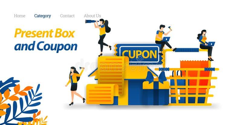 Teraźniejsi pudełko projekty Z Różnorodnymi akcesoriami, prezentów talonami i wózkiem na zakupy, Wektorowa ilustracja, Płaskiego  ilustracji