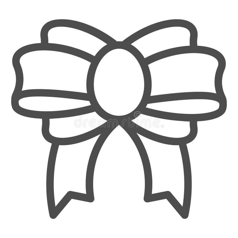 Teraźniejsza łęk linii ikona Świątecznego wystroju wektorowa ilustracja odizolowywająca na bielu Śliczny kępka konturu stylu proj ilustracji