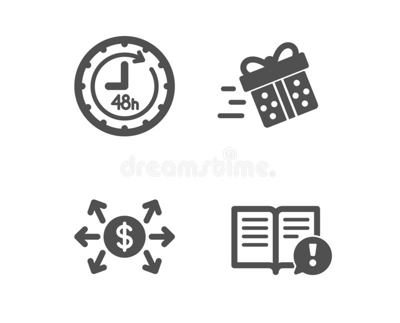 Teraźniejsza dostawa, 48 godzin i Dolarowej wymiany ikony, Fact znak Robić zakupy usługowej, Doręczeniowej usługi, zapłata wektor royalty ilustracja