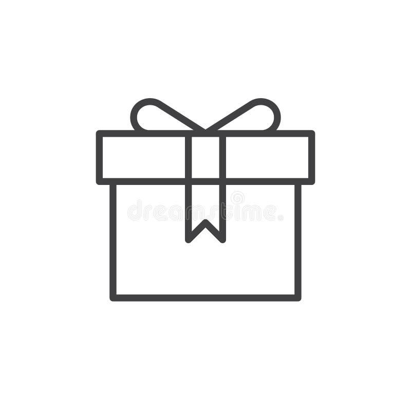 Teraźniejsza prezenta pudełka linii ikona ilustracja wektor