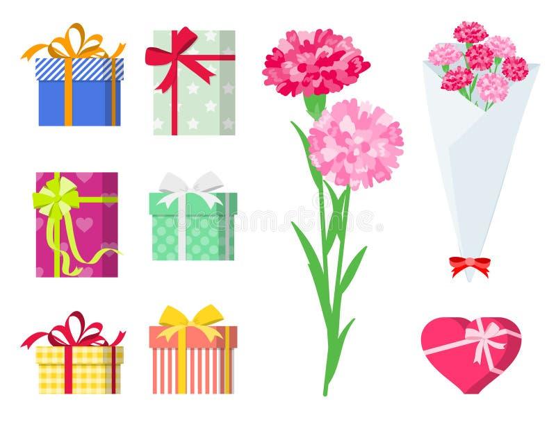 Teraźniejszość dla kochającego ones_gift setu royalty ilustracja
