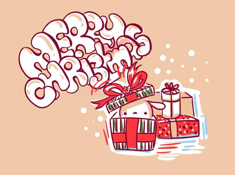 Teraźniejszość królika kartki bożonarodzeniowej doodle styl śliczny royalty ilustracja