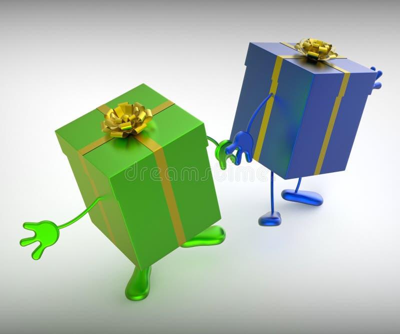 Teraźniejszość Znaczą zakupy Dla I znalezienie Perfect prezent ilustracja wektor