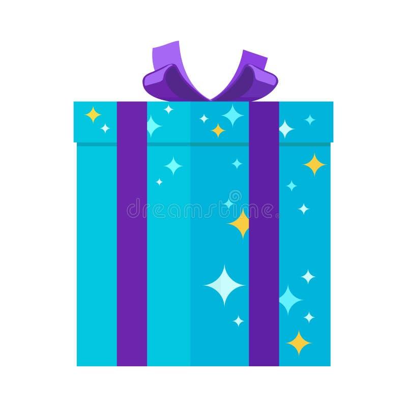 Teraźniejszy Giftbox dla festiwali/lów w błękitów kolorach z gwiazdami ilustracja wektor