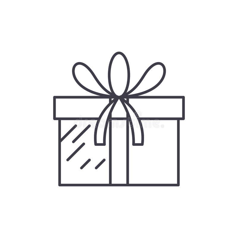 Teraźniejszy pudełko linii ikony pojęcie Teraźniejsza pudełkowata wektorowa liniowa ilustracja, symbol, znak royalty ilustracja