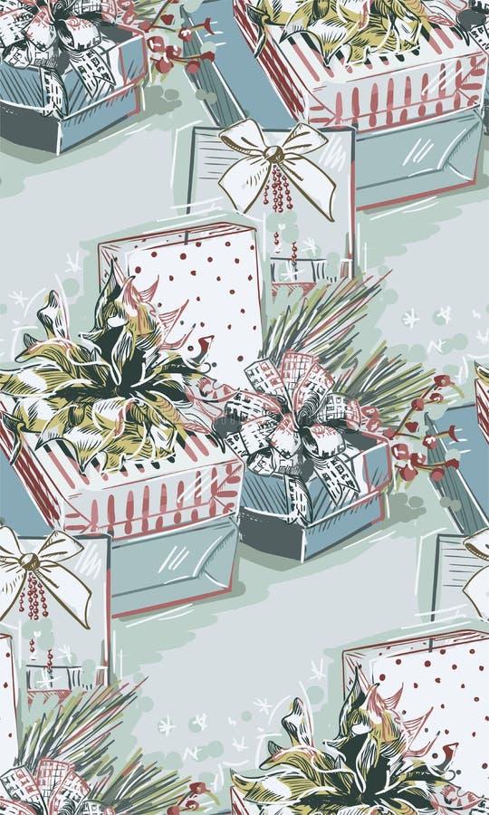 Teraźniejszych prezentów bożych narodzeń nowego roku błękita menchii bezszwowa deseniowa farba textured wektor royalty ilustracja