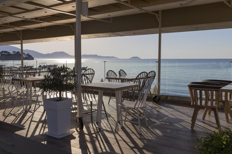 Terace with wooden furniture. Terrace with wooden furniture, on island Zakynthos, Greece stock photos