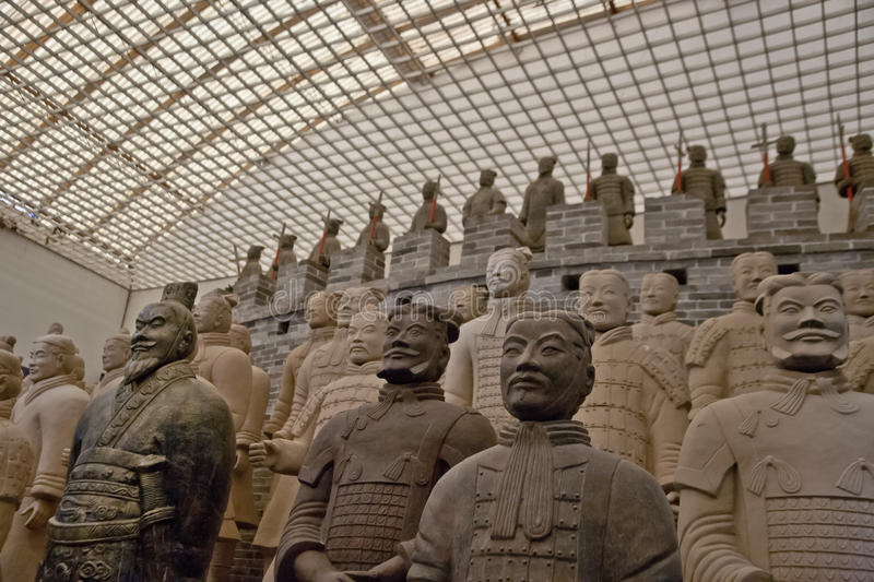 Teracotta Worriers. Terracotta Warriors buried with the Emperor of Qin in 209-210 BC in Xian, China stock photography