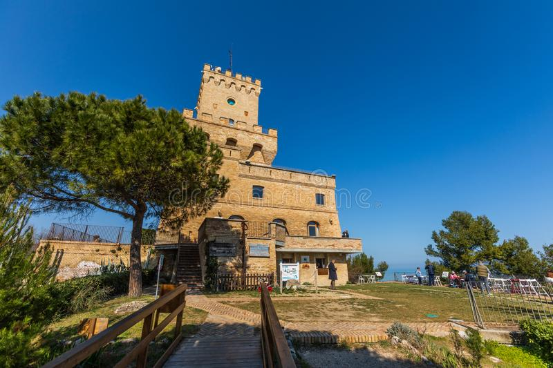 Ancient Tower of Cerrano in Italy. Construction of the sixteenth century. Teramo, Italy. March 3, 2019: Ancient Tower of Cerrano in Italy. The Tower of Cerrano royalty free stock images
