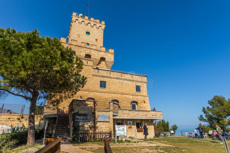 Ancient Tower of Cerrano in Italy. Construction of the sixteenth century. Teramo, Italy. March 3, 2019: Ancient Tower of Cerrano in Italy. The Tower of Cerrano royalty free stock image